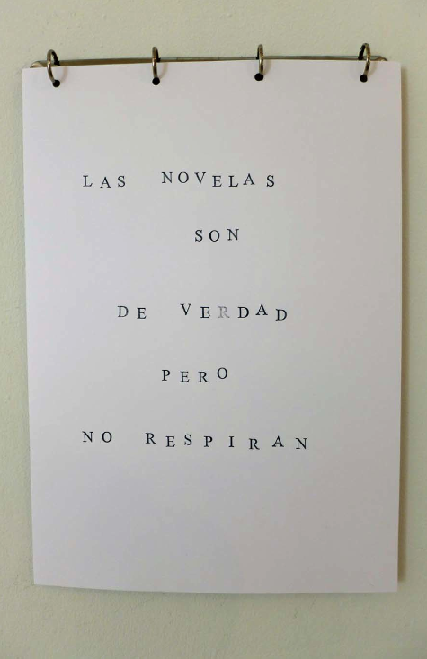 LAS NOVELAS SON DE VERDAD PERO NO RESPIRAN The novels are real but do not breathe Aluminium hook, ink, paper, 30x40cm 2015
